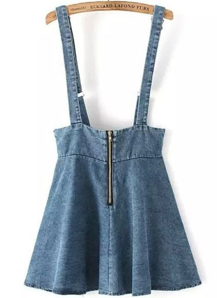 Blue Strap Zipper Denim Skirt