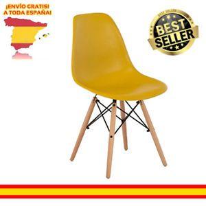 a silla moderna estilo nordico tower amarilla comedor dormitorio envio gratis