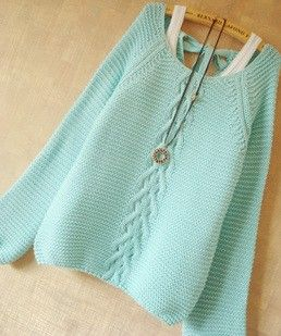 Mint Hollow Knit Sweater With Bow