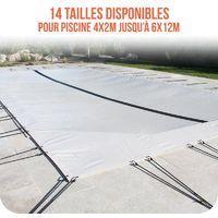 Linxor France ® Bâche d'hivernage PVC beige 580g/m² pour piscine enterrée - 14 tailles disponibles