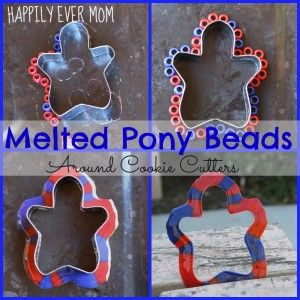 Melted Pony Beads Around Cookie Cutters from Happilyevermom