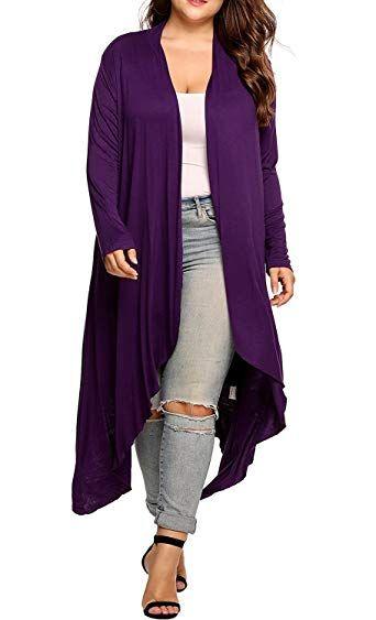 149510d2f3 Great for Kancystore Women s Plus Size Long Sleeve Waterfall Asymmetric  Drape Open Front Long Maxi Cardigan Sweater L-5XL online.