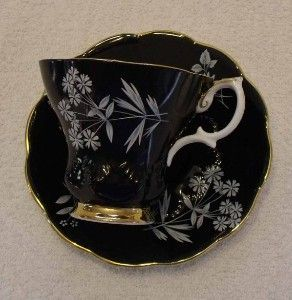 Black with White Flowers Teacup - Royal Albert Bone China: