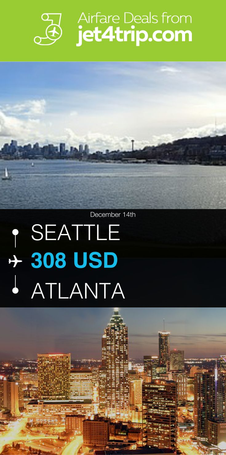 Flight from Seattle to Atlanta for $308 by Spirit Airlines #travel #ticket #deals #flight #SEA #ATL #Seattle #Atlanta #NK #Spirit Airlines