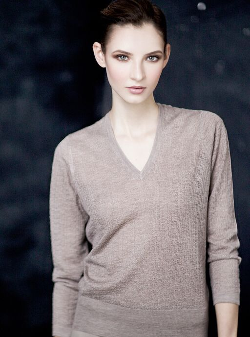 """Second skin"" cashmere lace stripe V-neck."