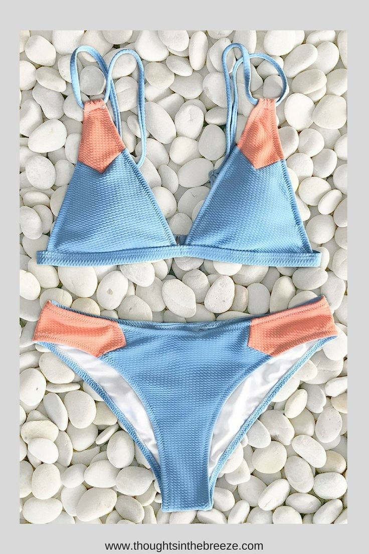 $23.80 Cupshe Sweet Macaron Triangle Bikini Set. Fashionable swimsuits for summer 2018. Trendy selections of stylish swimwear online. There are sexy, cute, boho, tribal, casual bathing suits with different prints in solid color, bikini's, tanks, tankini's, Suits for those who are modest, curvy, sporty, moms, or teens, they have flattering swimsuits for any body shape. | teens | summerstyle |  #bikini, #swimsuits, #tankini, #onepiece, #summerfun, #affiliate, #summerfashion, #fashion
