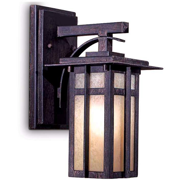 """Delancy 12 1/4"""" High Outdoor Wall Lantern in Iron Oxide - #X8879 