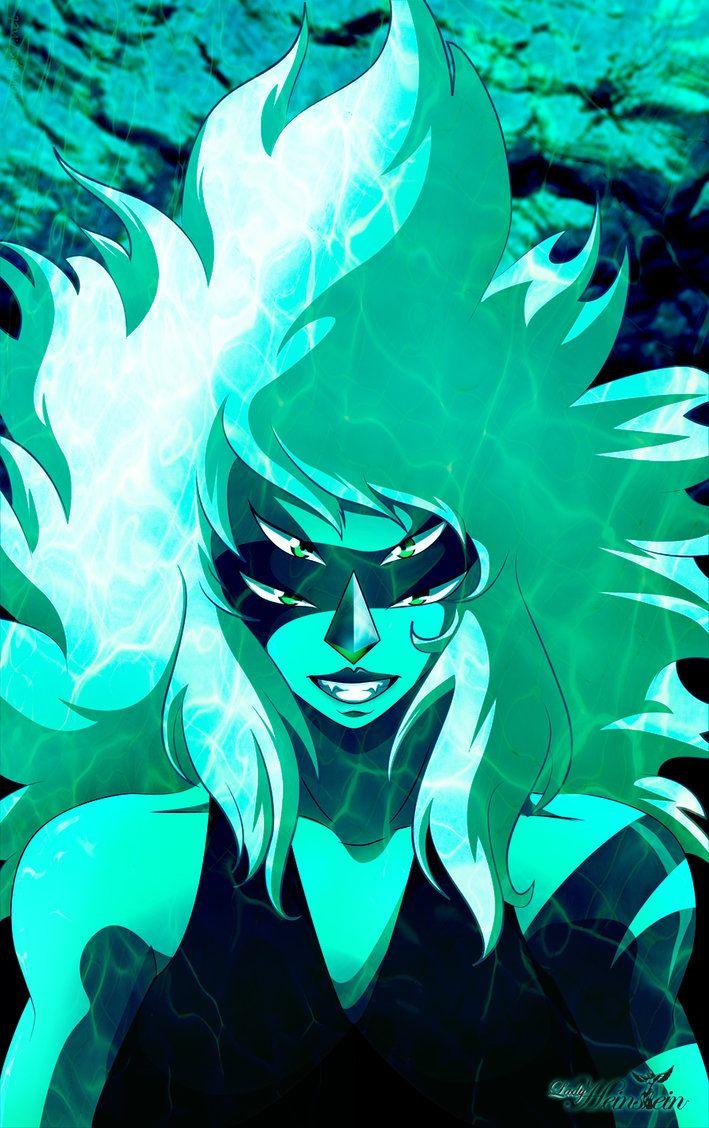 Malachite es la gema resultado de la fusion de Jaspe y Lapiz Lazuli en la serie Steven Universe.
