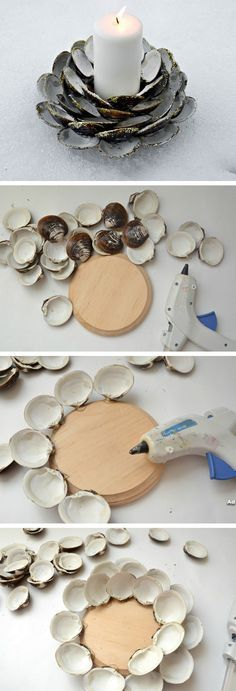 Seashell Candle Holder with Glitter   Click Pic for 18 DIY Seashell Craft Ideas for the Home   Easy Seashell Decorating Ideas on a Budget