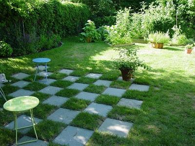 Cement patio paver and grass checkerboard patio garden for Checkerboard garden designs