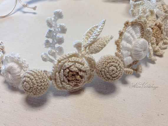 Flower head wreath Wedding wreath Crochet flower Irish crochet