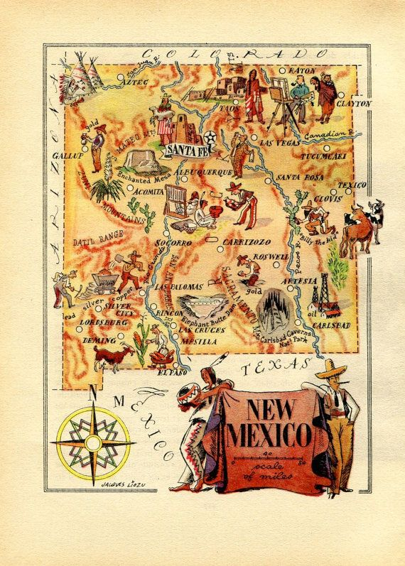 Ilrated Map Of New Mexico 1946 United States Usa Vintage Map Wall Decor For
