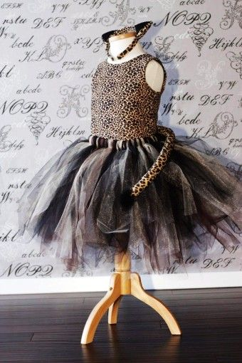 Cheetah Cat Costume Black Tan Brown Tulle Tutu Dress-up 2015 Halloween Costume Photo Prop Tutu Children Toddler Infant Custom Crochet Disney - Tutu 2015 Halloween costumes for toddler that you should know how to make by dudaamaranhao