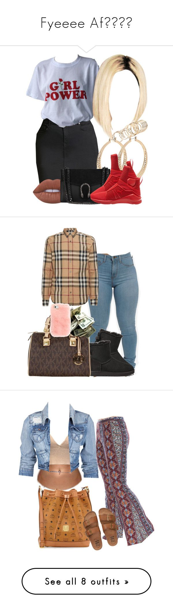 """""""Fyeeee Af👌🏾😍🔥"""" by yungjazzyhoe ❤ liked on Polyvore featuring Forever 21, ALDO, Lime Crime, Puma, Burberry, UGG Australia, MICHAEL Michael Kors, MCM, Soul Cal and Grayson"""
