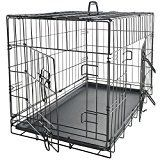 #6: OxGord 42 inches Dog Crate with Divider Double-Doors Folding Pet Cage with Heavy Duty Metal Wires Removable ABS Plastic Floor Tray Carry Case w/ Handle |XXL: 42 inches x 27 inches x 30 inches