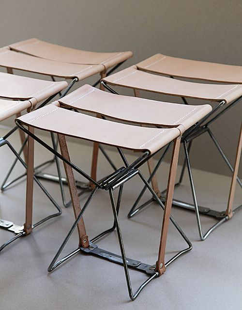 Banquinho Stools Vintage Steel Amp Leather Folding Stool