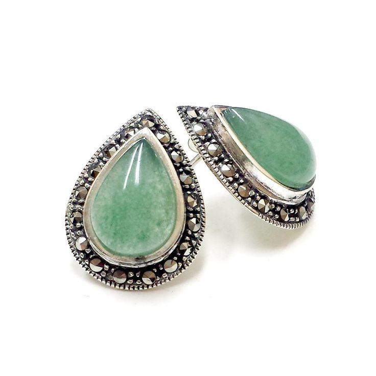 Sterling Silver Marcasite Teardrop Gem (Jade, Turquoise, Onix, Mother of Pearl) Stud Earrings (Green):