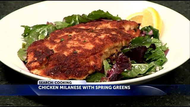 of Valentine's Day recipes with a Chicken Milanese with Spring Greens ...