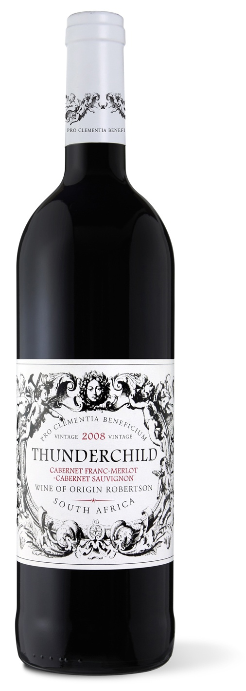 Orphanage now lists ThunderChild Blend 2008: Cabernet Franc, Merlot & Cabernet Sauvignon: Soft black fruits, French oak.    Because 100% of profits from the Vineyard of Die Herberg goes to the Herberg Children's Home in Robertson.