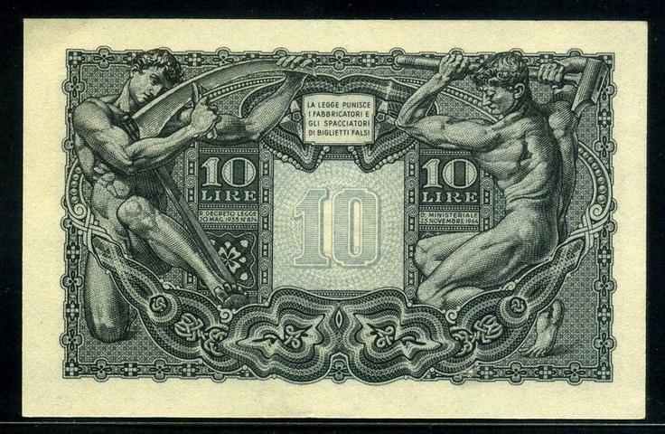 Italian 1944 10 Lire banknote (reverse)