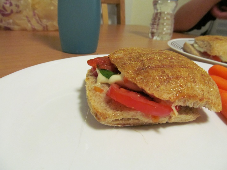 tomato, basil, and mozzarella in a panini...yum! maybe make a balsamic ...