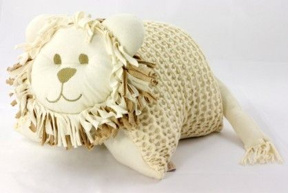 Knitted Lion Cuddle Pillow Ivory #OrganicCotonSoftToys  http://www.vanillababy.com.au/shop/soft-toys/knitted-lion-cuddle-pillow-ivory/