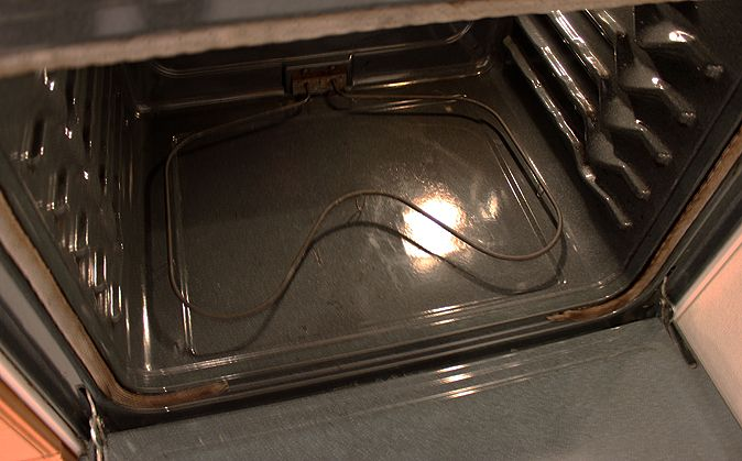 Oven Cleaning  UPDATE: This should not be done on gas ovens unless the pilot light is out and the gas has been turned off.  Never mix ammonia with other strong cleaning agents, such as bleach or commercial oven cleaners.