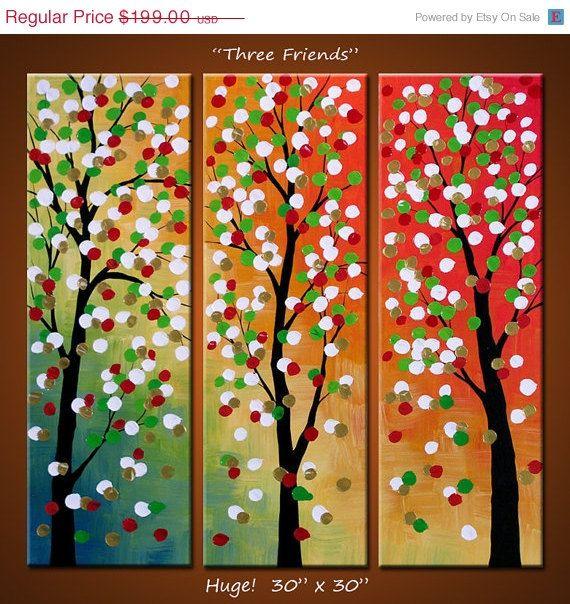 SATIŞA Soyut Manzara Gökkuşağı Sanat Orijinal Büyük Soyut Triptych Boyama Modern Çağdaş Çiçekler Ağaçlar ... x 30 30 .. Üç Frie