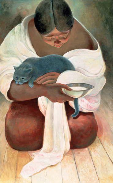 Cat and people paintings. Sandra Biermann - Blue Cat 2.