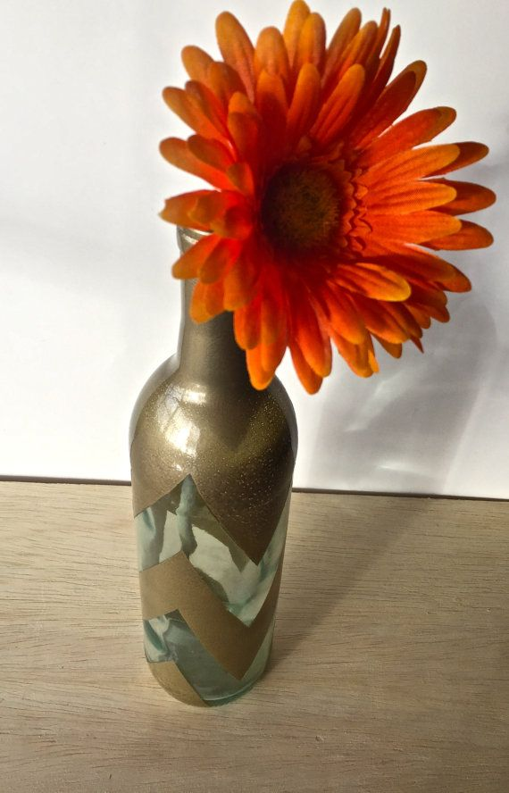 Upcycled Glass Vase; Chic Home Decor! Spruce up your home with this Gold Chevron Centerpiece by AKrughKreations