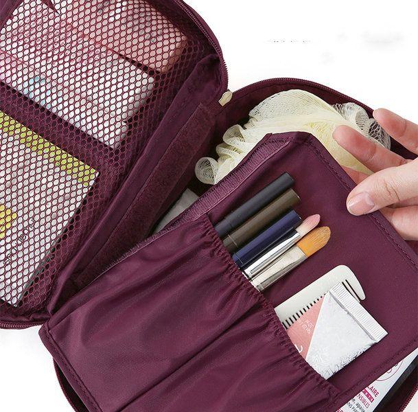 Multifunction Square Nylon Travel Wash Cosmetic Bag Makeup Storage Bag