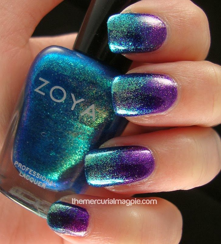 peacock nails with zoya mimi and zoya charla