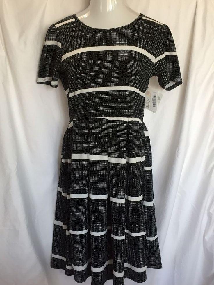 LulaRoe Amelia XL Dress Black White Stripe Check Pockets Extra Large Lula Roe  #LulaRoe #WeartoWork