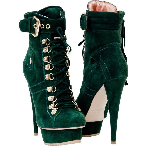 PAOLO IANTORNO Cigdem Green Suede Lace up Platform Ankle Boots found on Polyvore