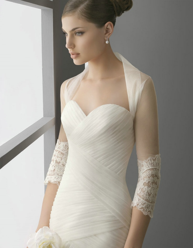 Tulle Wedding Bolero with lace cuff