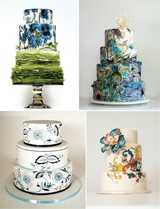 {Wedding Trends} : Hand-Painted Cakes - Belle the Magazine . The Wedding Blog For The Sophisticated Bride