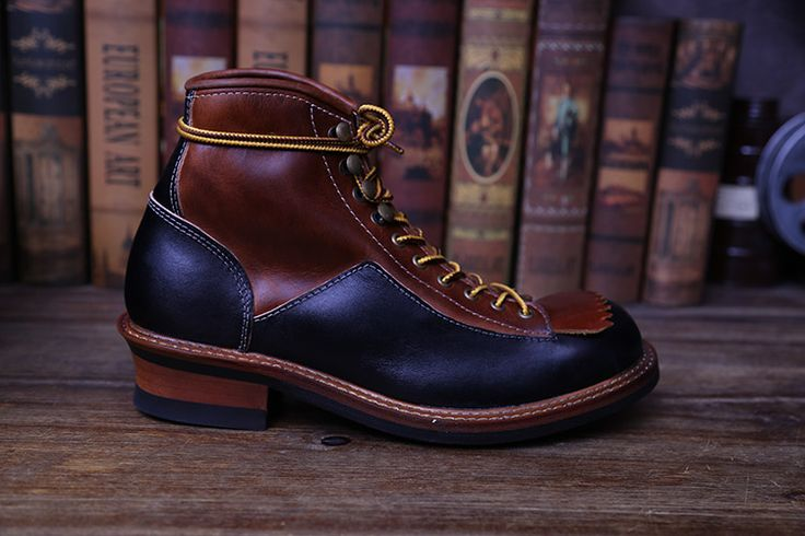 2017Handmade  Motorcycle Martin Short Boots Men's High Tools Work shoes