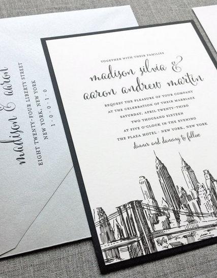 Madison New York Skyline Wedding Invitation Sample   Boston, Chicago,  Dallas, Los Angeles, New York, San Francisco