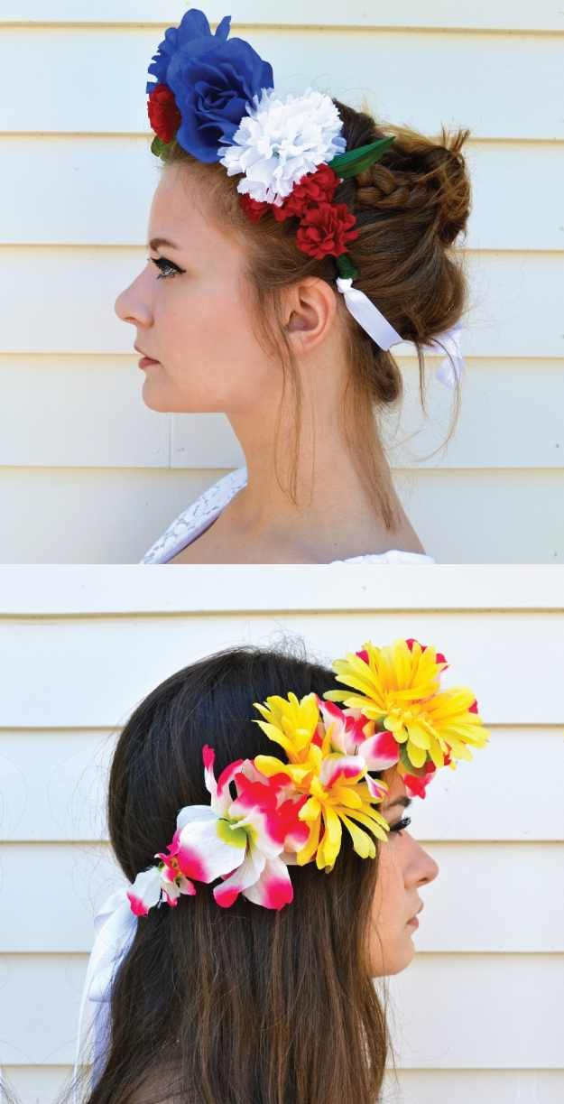 Homemade flower crowns, fit for any music festival.