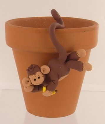 How adorable is this little monkey?!? This would be super cute on a picture frame or something like that too.: Clay Monkeys, Clay Projects, Shop Monkey, Clay Creations, Monkey Pot, Clay Idea, Polymer Clay, Kid