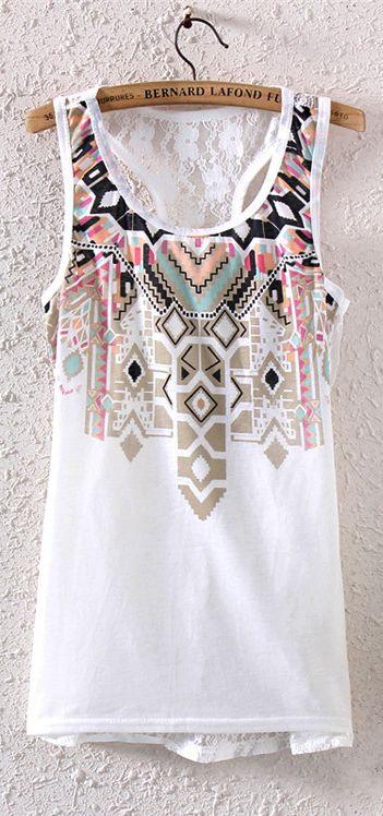 Floral Print Vest Top with Lace Back