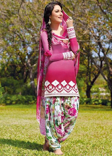 Pink Multicolor Cotton Punjabi Suit
