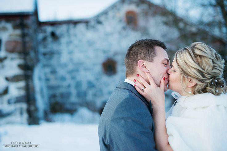 Bröllopsfotografering, bröllop, brudpar, bröllopsfotografering i Jakobstad, vinter  www.michaelafagerudd.com