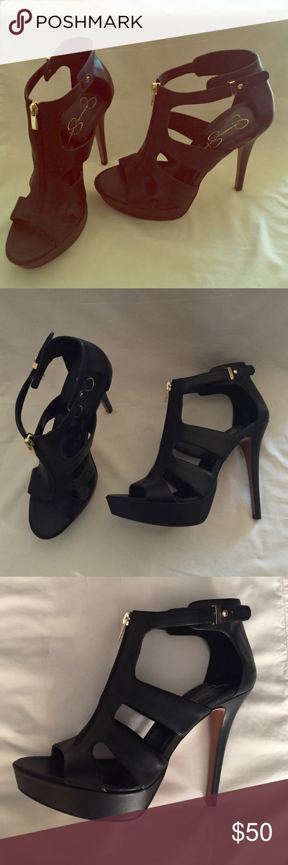 Beautiful black Jessica Simpson pumps! Never worn black pumps with gold zipper and buckle! Jessica Simpson Shoes Heels