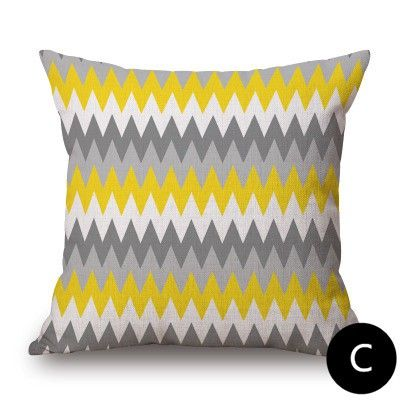Cheap Sectional Sofas Gray and yellow throw pillows for living room modern minimalist style Geometric contemporary throw pillows for couch cushions sets linen fabric