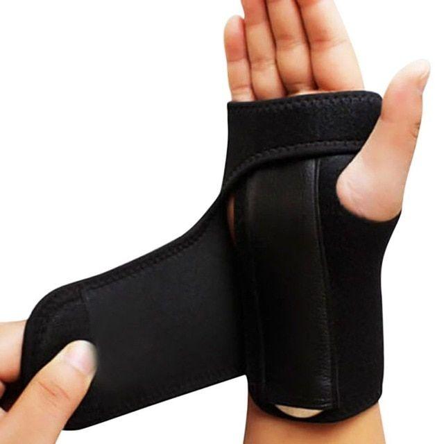 Adjustable Black Neoprene Palm Wrist Strap Hand Wrap Support Brace Sprain Gym UK