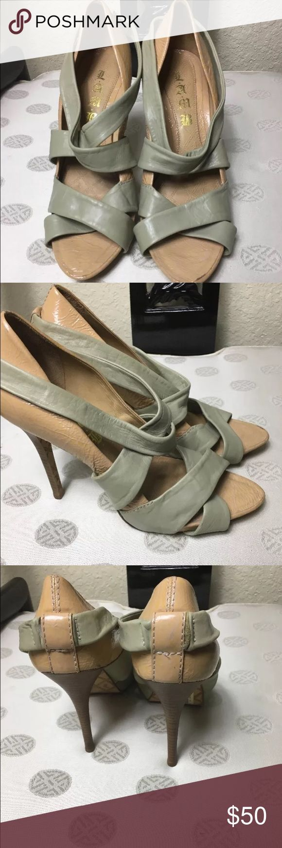 LAMB Beige & Olive Green Suede Tasha Pumps Sz 10 LAMB Beige & Olive Green Suede Tasha Pumps Sz 10 minor scuffs due to wear please see pictures LAMB Shoes Heels