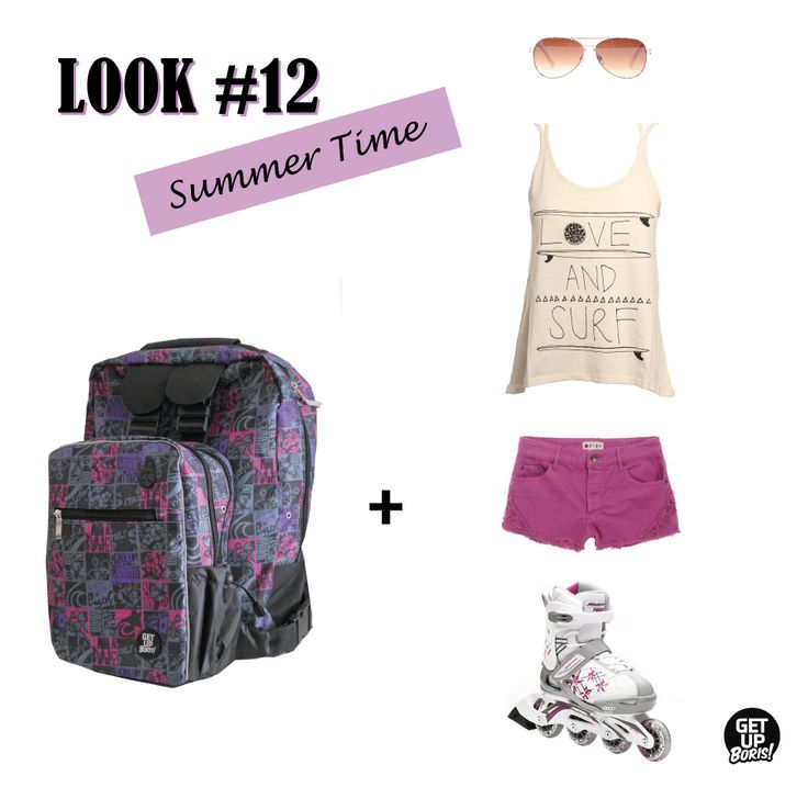 Summer Inline Skating look. #fashion #rollerblading #skating #backpacks #mochilas #patines