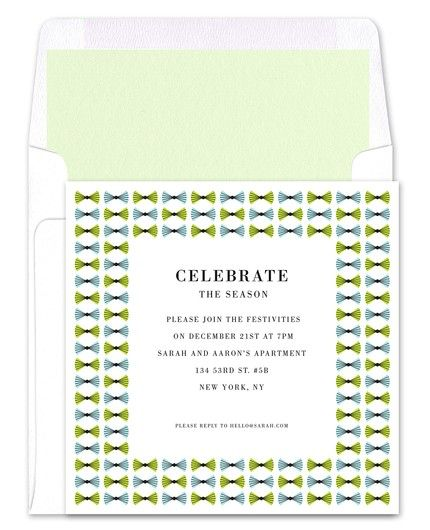 Green Bowtie Invitations - Real Simple (finestationery.com)