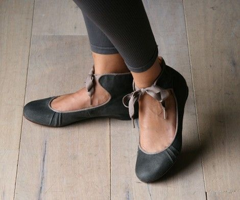 black and grey ballet flats
